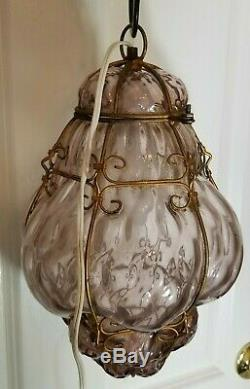 Vintage Venetian Murano Hand Blown Caged Glass Hanging Ceiling Light Lamp Italy