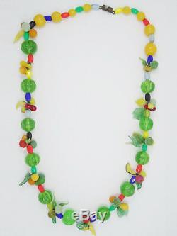 Vintage Venetian Murano Hand Blown Fruit Salad Glass Necklace 21