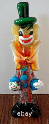 Vintage Venetian Murano Hand-Blown Glass Clowns - lot of 3