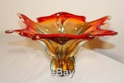 Vintage hand blown Italian art glass centerpiece bowl Murano Venetian vase dish