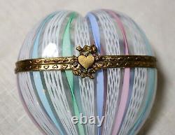 Vintage hand blown Murano Italian art glass ornate brass pastel heart box jar