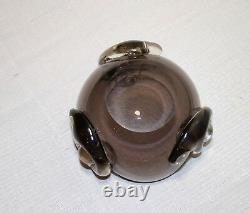 Vintage hand blown Murano smokey quartz art glass cigarette cigar ashtray Italy