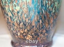 Vintage hand blown art studio glass gold flake Italian Murano Venetian vase