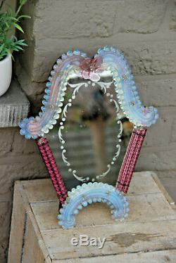 Vintage italian murano glass hand blown Make up vanity table mirror