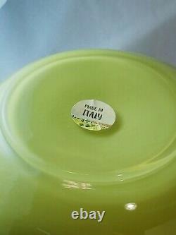 Vintage, rare, Italian Empoli Olive Green Murano Cased Art Glass Pitcher