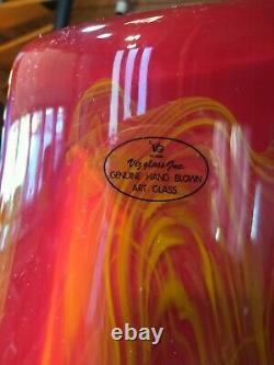 Viz Glass Hand Blown Murano Style Large 26 Vase Very Heavy