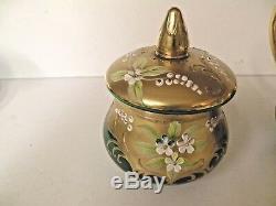 Vntge Venetian Murano Glass 24 K Gold & Emerald Green 17 Pc Tea Set Murano Isle