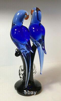 Vtg Arte Murano ICET Love Birds Sculpture Figurine Large Superb! Cobalt Blue