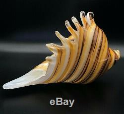 Vtg Hand Blown Glass Murano Art Style Conch Seashell Sculpture Home Office Decor