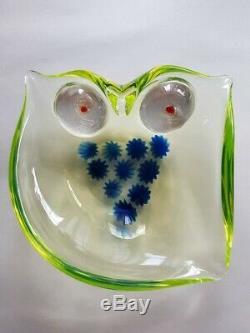 Vtg Hand blown Italian Italy Murano Vaseline Art Glass Owl Bowl Cenedese Rare