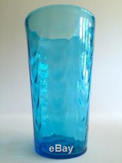 Vtg MID Century Modern Aqua Hand Blown Murano Art Glass Lrg Cylinder Ripple Vase
