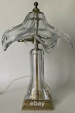 Vtg Mid Century Modern Clear Murano Glass Boudoir Lamp Crystal Hand Blown Shade