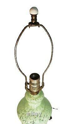 Vtg Mottled Green / White MURANO GLASS Table Lamp Cast Brass Base dolphin 17