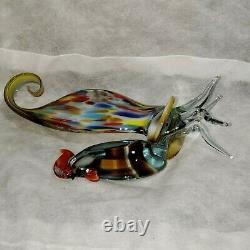 Vtg Murano Multi Colored Art Glass Figurine Statue Rooster hand-blown 12,5H