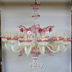 XXL Majestical 12 ARMS murano Venetian pink glass hand blown Chandelier 1960's