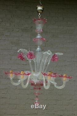 XXL Mid century MURANO handblown pink clear glass chandelier 6 arms 1970