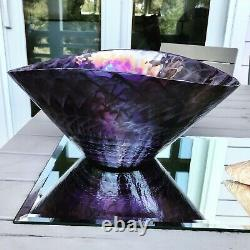 Yalos Murano Venetian Glass Bowl (15) and Plate (20) Hand Blown Purple Large